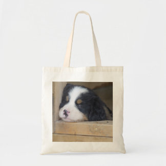 Sad Bernese Mountain Dog Puppy Tote Bag