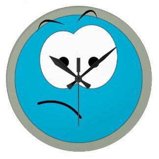 Sad Blue Smiley Face Large Clock