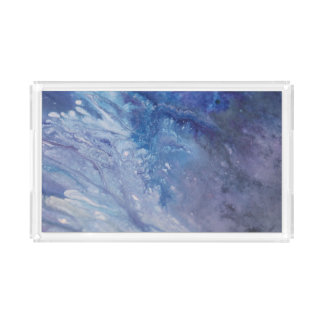 Sad blue white purple abstract paint wave water acrylic tray