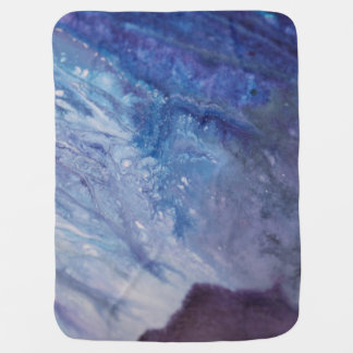 Sad blue white purple abstract paint wave water baby blanket