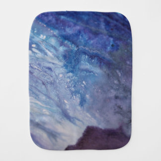 Sad blue white purple abstract paint wave water burp cloth