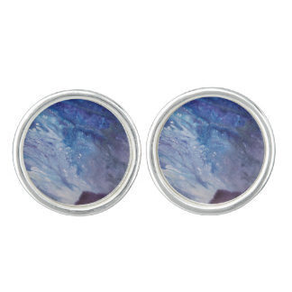Sad blue white purple abstract paint wave water cufflinks