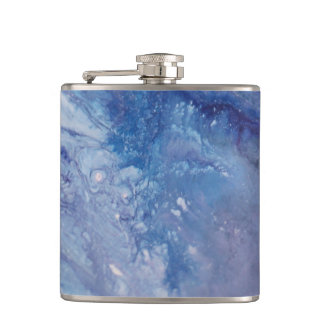 Sad blue white purple abstract paint wave water hip flask