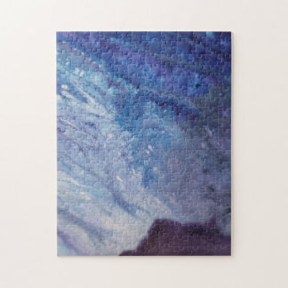 Sad blue white purple abstract paint wave water jigsaw puzzle