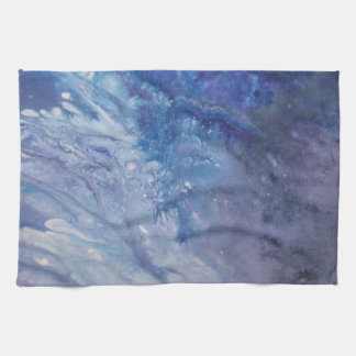 Sad blue white purple abstract paint wave water kitchen towel