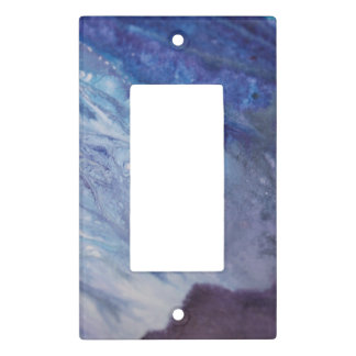 Sad blue white purple abstract paint wave water light switch cover