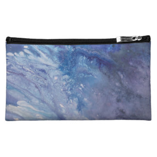 Sad blue white purple abstract paint wave water makeup bag