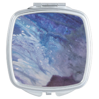 Sad blue white purple abstract paint wave water makeup mirror