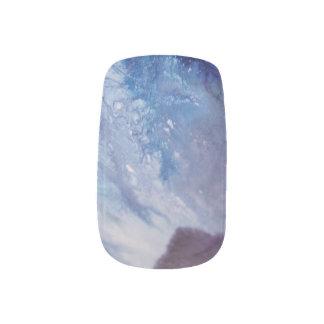 Sad blue white purple abstract paint wave water minx nail art