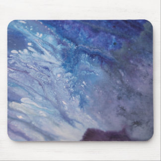 Sad blue white purple abstract paint wave water mouse pad