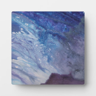 Sad blue white purple abstract paint wave water plaque