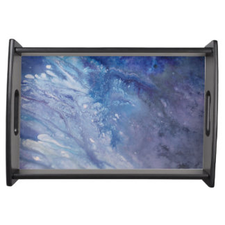 Sad blue white purple abstract paint wave water serving tray
