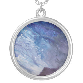 Sad blue white purple abstract paint wave water silver plated necklace