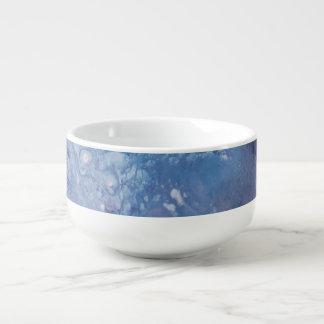 Sad blue white purple abstract paint wave water soup mug