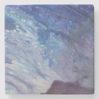 Sad blue white purple abstract paint wave water stone coaster