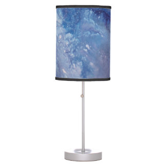 Sad blue white purple abstract paint wave water table lamp