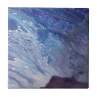 Sad blue white purple abstract paint wave water tile