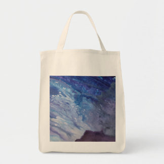 Sad blue white purple abstract paint wave water tote bag