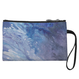 Sad blue white purple abstract paint wave water wristlet