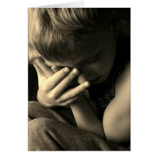 Sad Boy Sepia Card