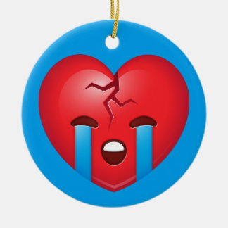 Sad Broken Heart Emoji Ceramic Ornament