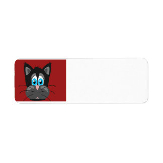 Sad Cat Face on a Red Background Labels
