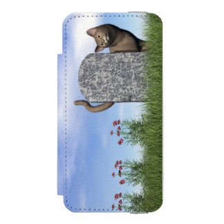 Sad cat near tombstone incipio watson™ iPhone 5 wallet case