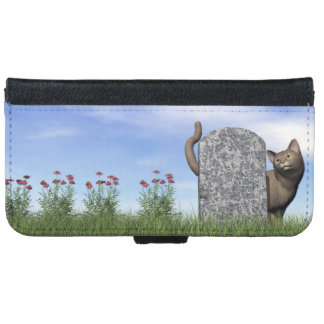 Sad cat near tombstone iPhone 6 wallet case