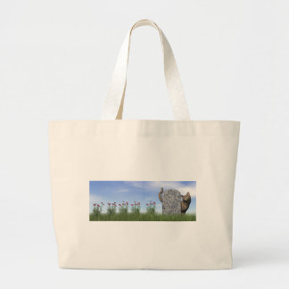 Sad cat near tombstone large tote bag