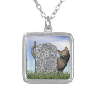 Sad cat near tombstone silver plated necklace