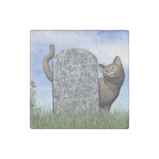 Sad cat near tombstone stone magnets