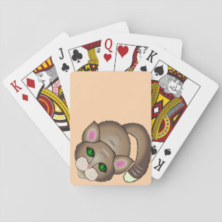 Sad cat playing cards
