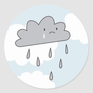 Sad Cloud Classic Round Sticker