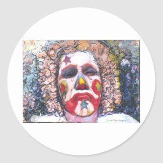 Sad Clown Classic Round Sticker