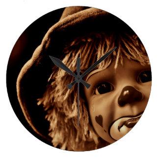 Sad Clown Doll Face Large Clock