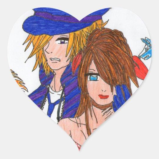 Sad couple heart sticker