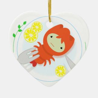 sad crayfish ceramic heart ornament