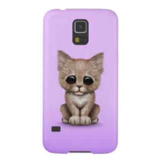 Sad Cute Beige Kitten Cat on Purple Galaxy S5 Covers