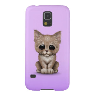 Sad Cute Beige Kitten Cat on Purple Cases For Galaxy S5