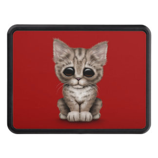 Sad Cute Brown Tabby Kitten Cat on Red Tow Hitch Covers