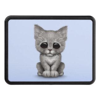 Sad Cute Gray Kitten Cat on Blue Hitch Covers