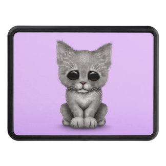 Sad Cute Gray Kitten Cat on Purple Hitch Covers
