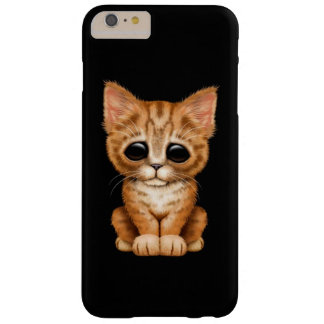 Sad Cute Orange Tabby Kitten Cat on Black Barely There iPhone 6 Plus Case