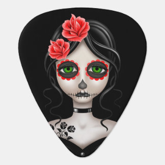 Sad Day of the Dead Girl on Black Pick