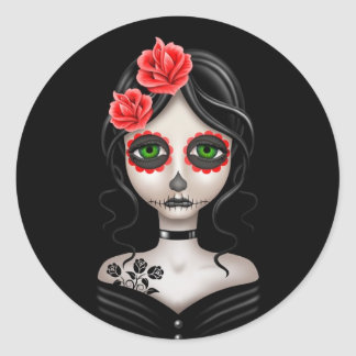 Sad Day of the Dead Girl on Black Round Sticker