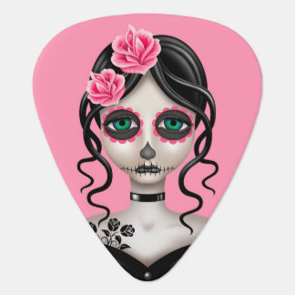 Sad Day of the Dead Girl on Pink Guitar Pick