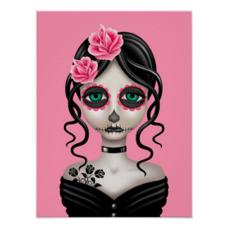 Sad Day of the Dead Girl on Pink Print