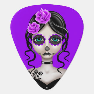 Sad Day of the Dead Girl on Purple Pick