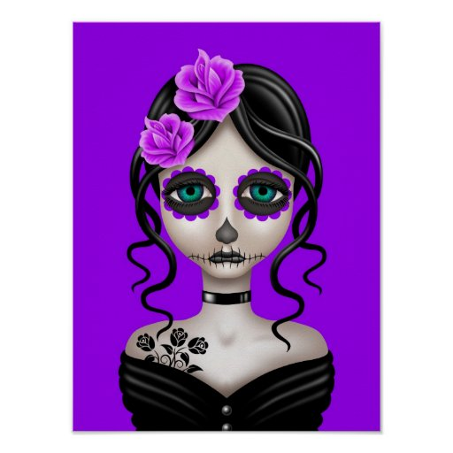 Sad Day of the Dead Girl on Purple Posters
