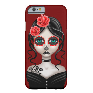 Sad Day of the Dead Girl on Red Barely There iPhone 6 Case
